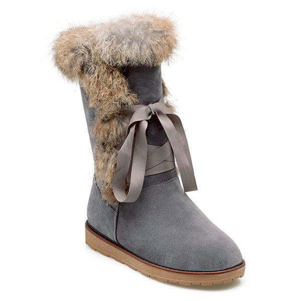 Faux Fur Lace Up Mid Calf Boots - GRAY 37