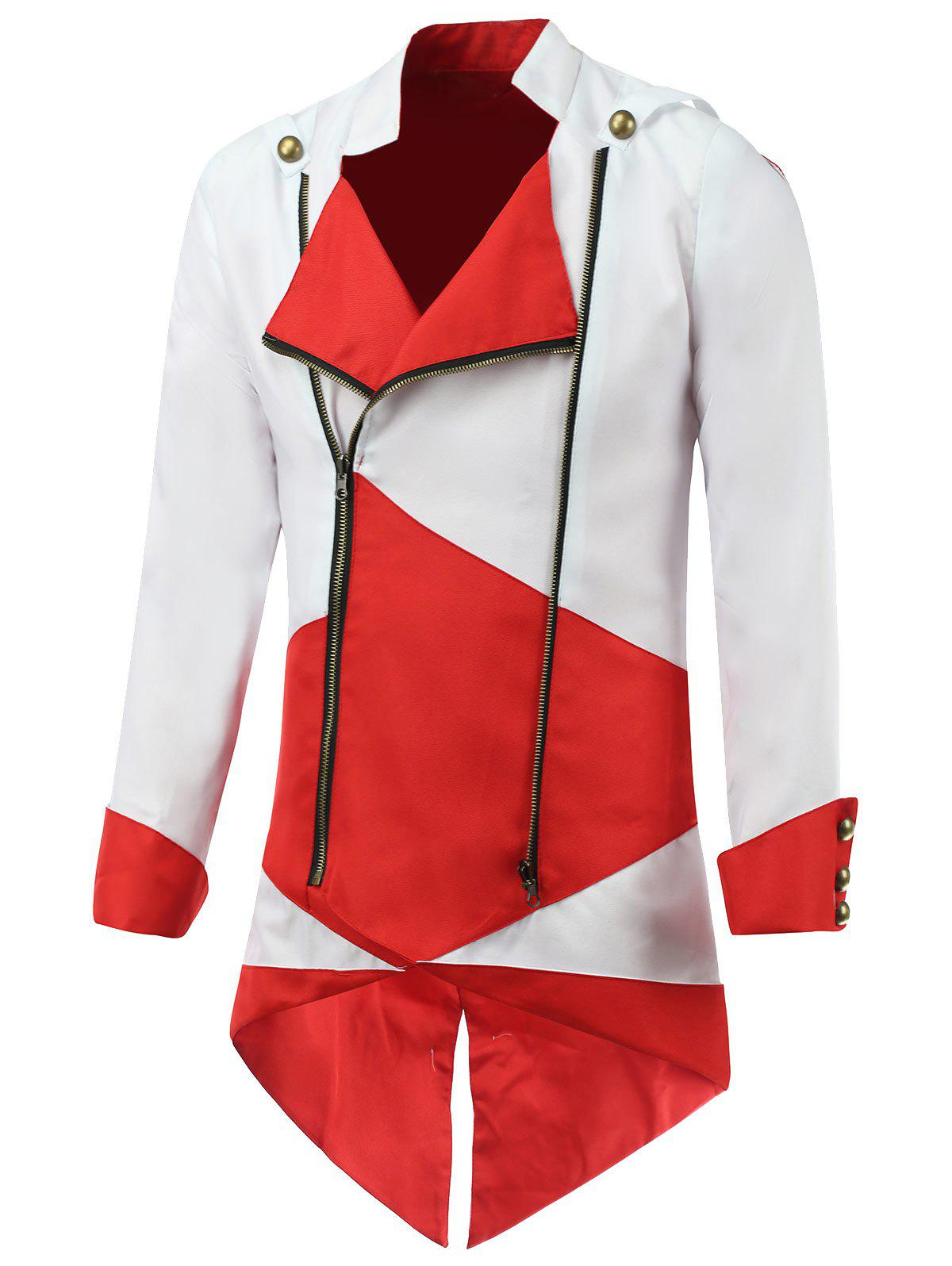 Color Block Splicing Hooded Cosplay Jacket - RED/WHITE 2XL