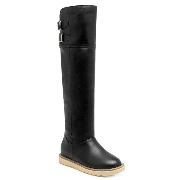 Buckle Faux Leather Knee High BootsShoes<br><br><br>Size: 39<br>Color: BLACK