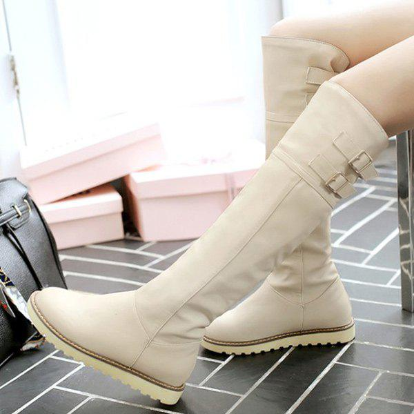 Buckle Faux Leather Knee High Boots - OFF WHITE 37