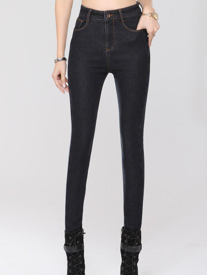 Stretchy Thickening Pencil Jeans - BLACK 2XL