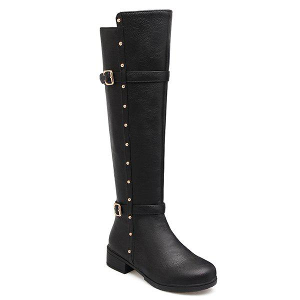 Zipper Studded Double Buckle Knee High Boots quilted studded double strap argyle sweatshirt