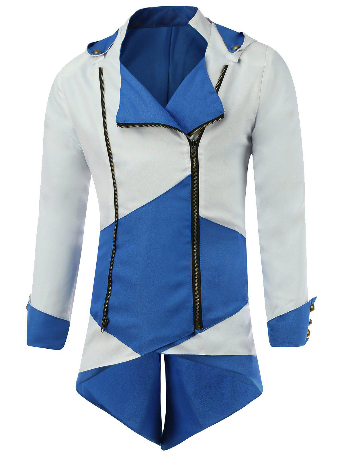 Color Block Splicing Hooded Cosplay Jacket - BLUE/WHITE 3XL