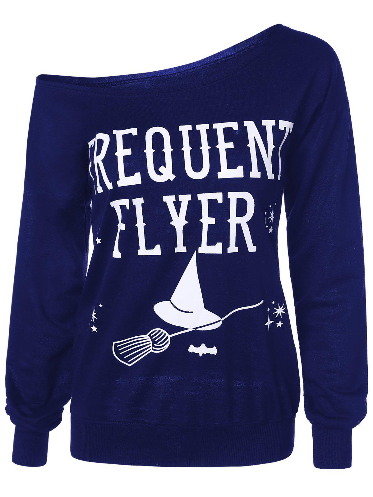 Letter Skew Neck Sweatshirt - BLUE 3XL