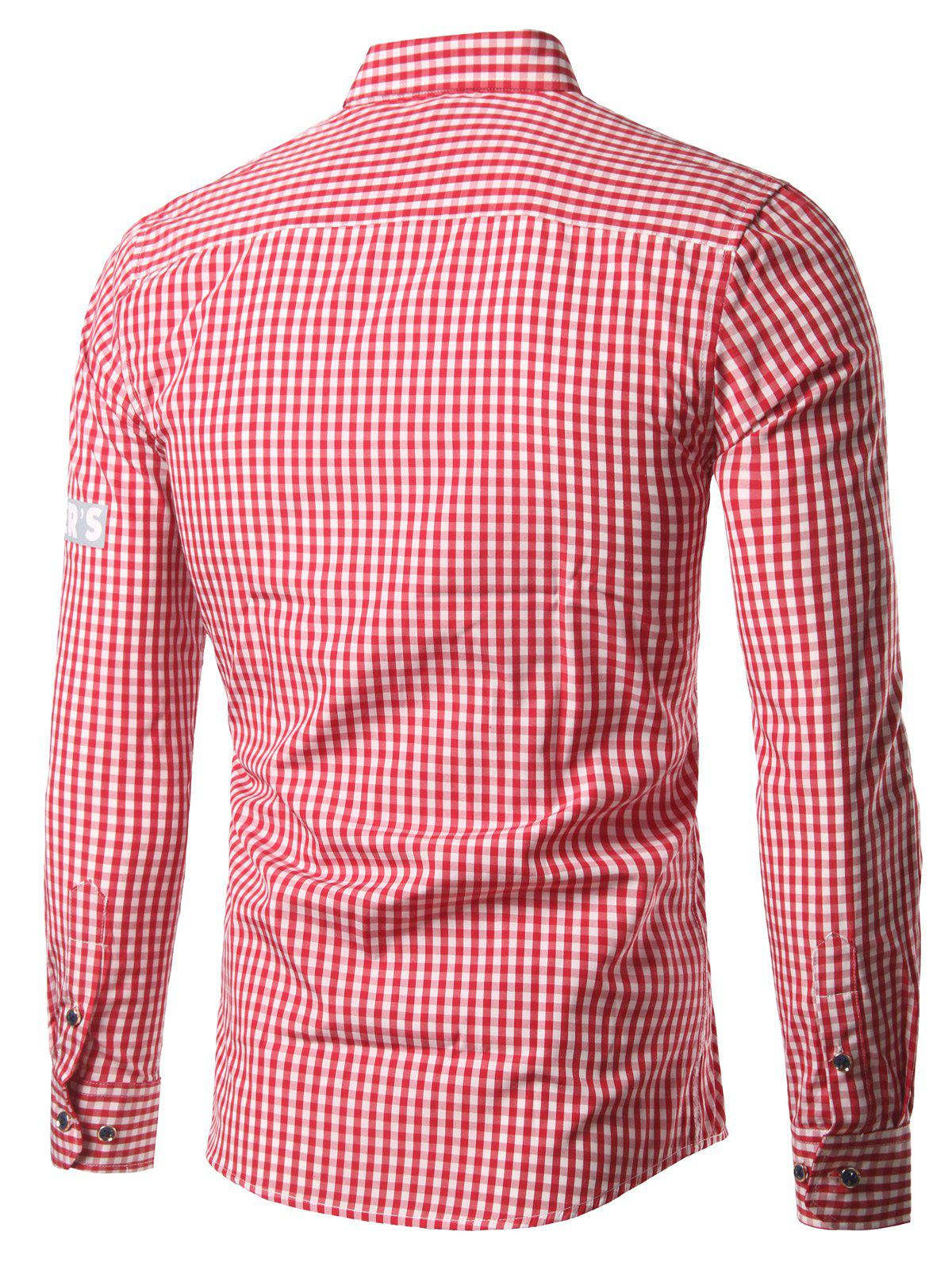 Grille Stripe col rabattu patché Plus Size Shirt - Rouge L