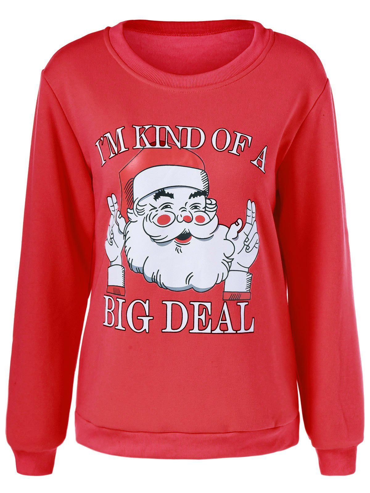 Funny Santa Claus Print Sweatshirt - RED XL