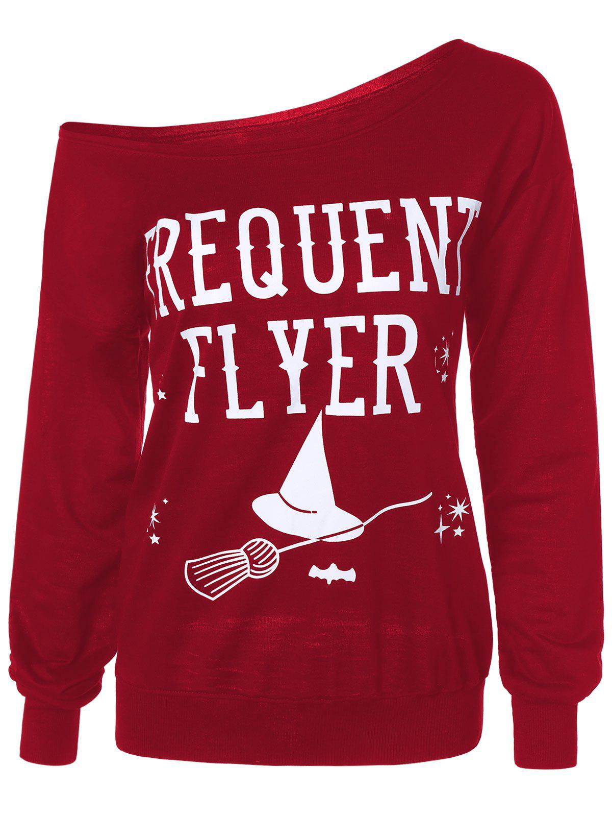 Letter Skew Neck Sweatshirt - RED XL