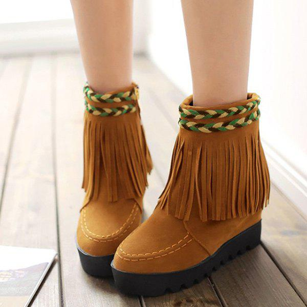 Braided Suede Increased Internal Fringe Boots - YELLOW 39
