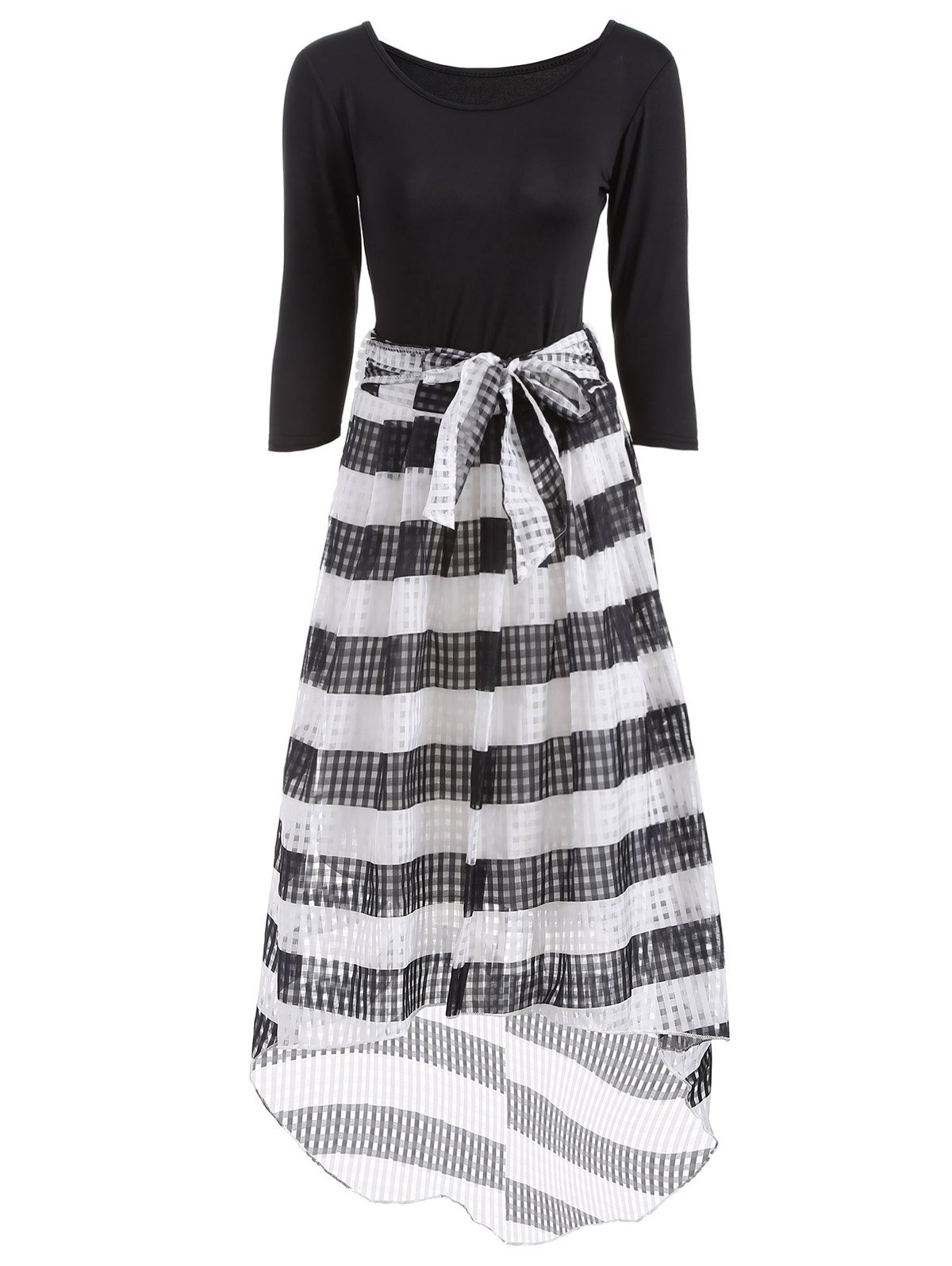 Scoop Neck T-Shirt With Striped Mesh Skirt Twinset - WHITE/BLACK L