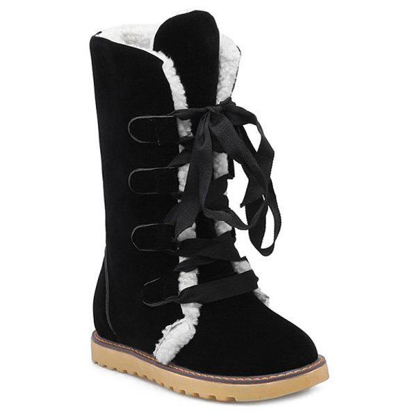 Lace Up Suede Snow Boots - BLACK 39
