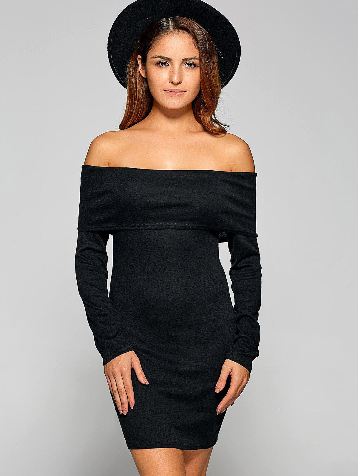 Off Shoulder Long Sleeve Bodycon Mini Fitted Dress - BLACK S