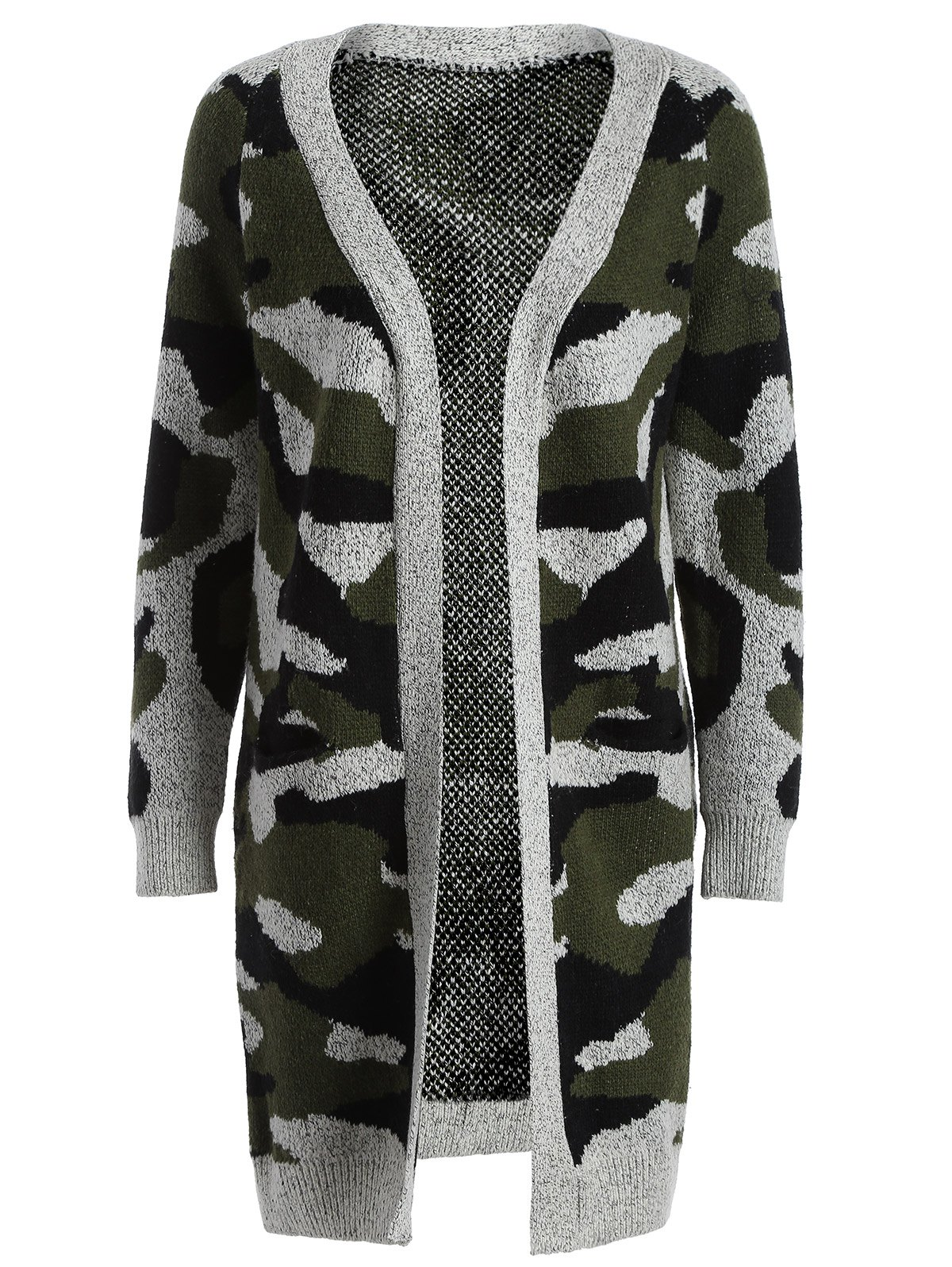 Camo Long Knitted Cardigan - ARMY GREEN ONE SIZE