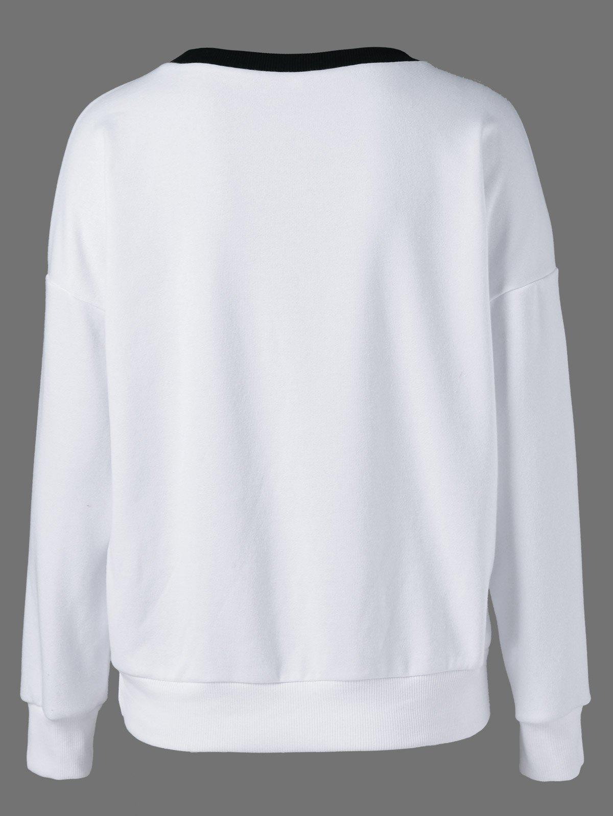 Drop Shoulder Sweatshirt - WHITE/BLACK XL