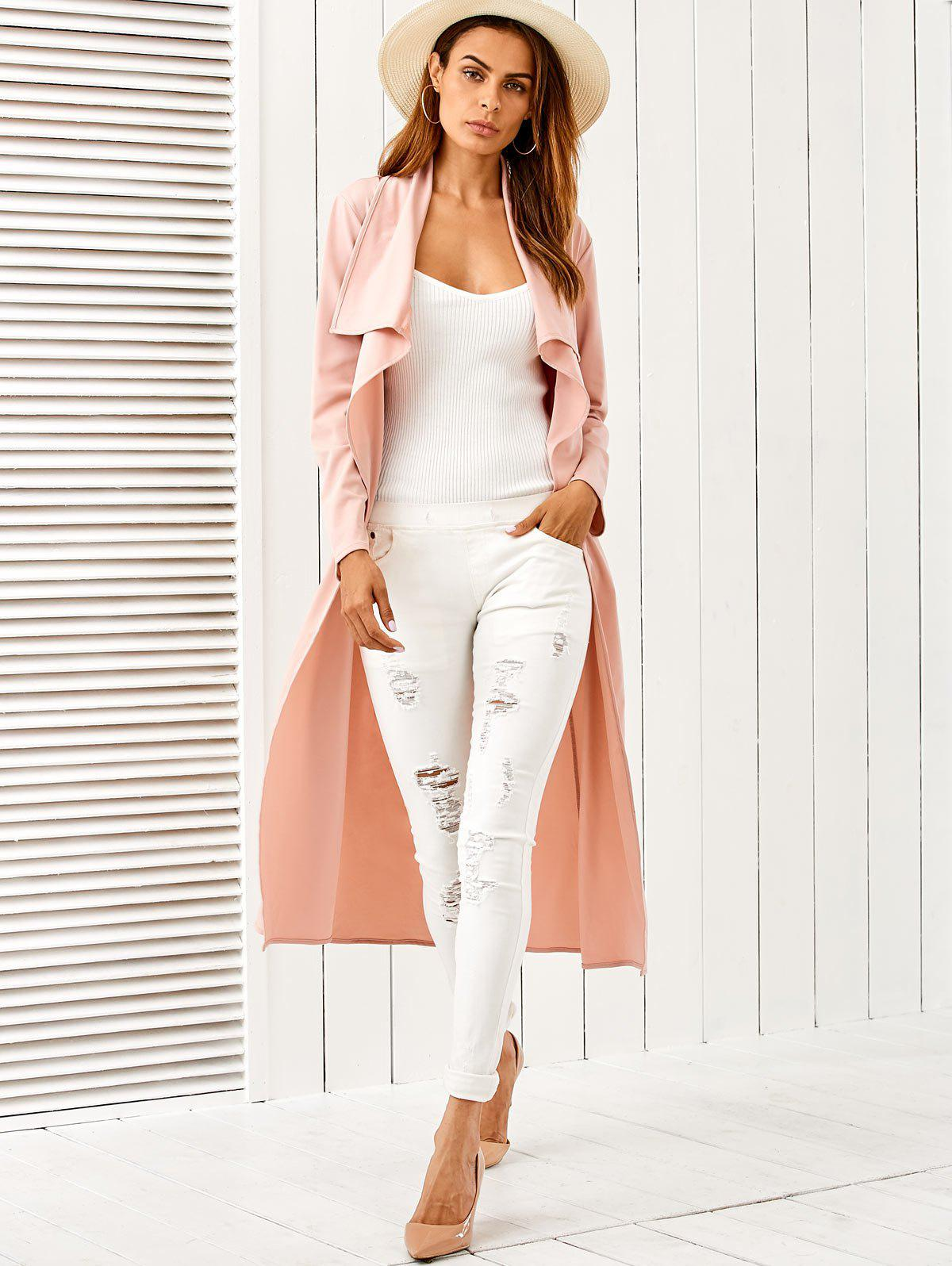 Draped Belted Duster Coat - PINK M