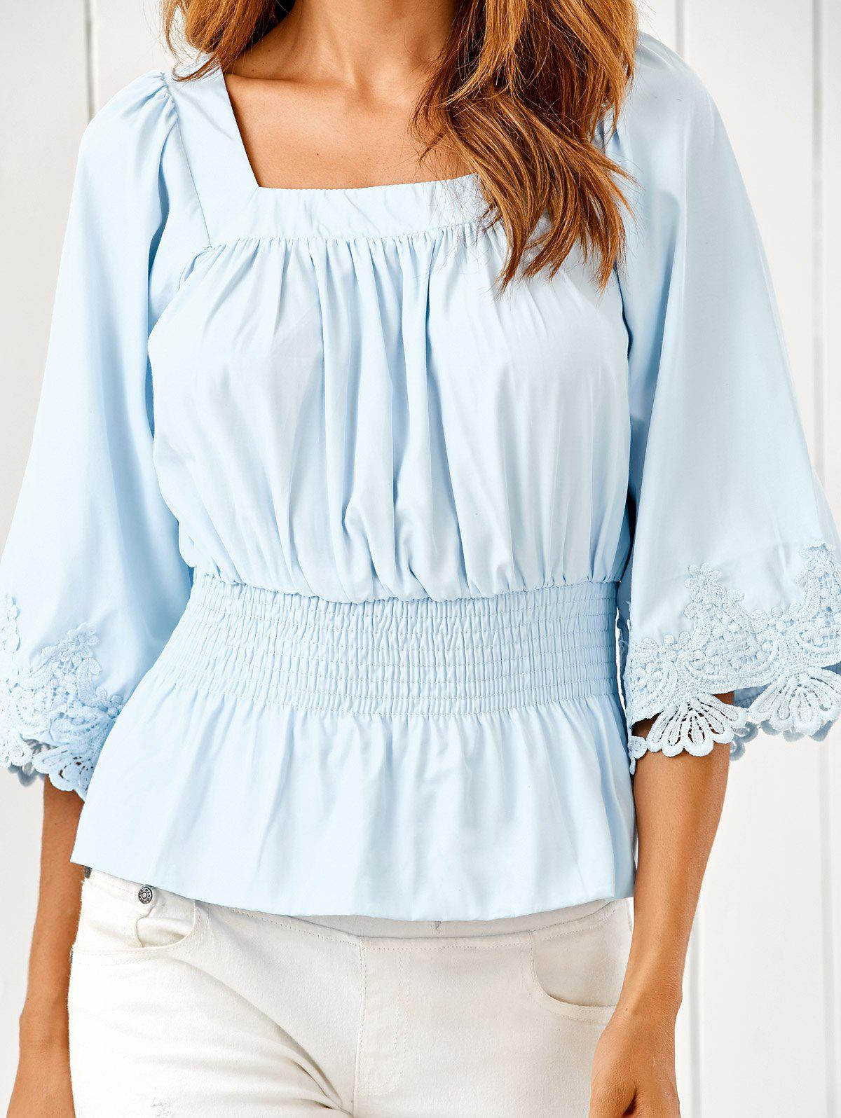 Square Neck Ruched Smock Lace Spliced Blouse - LIGHT BLUE M