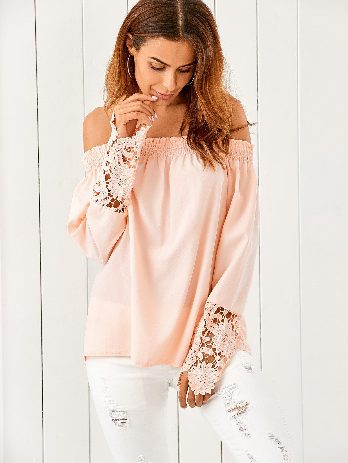 Off The Shoulder Lace Spliced Loose Blouse - NUDE PINK M