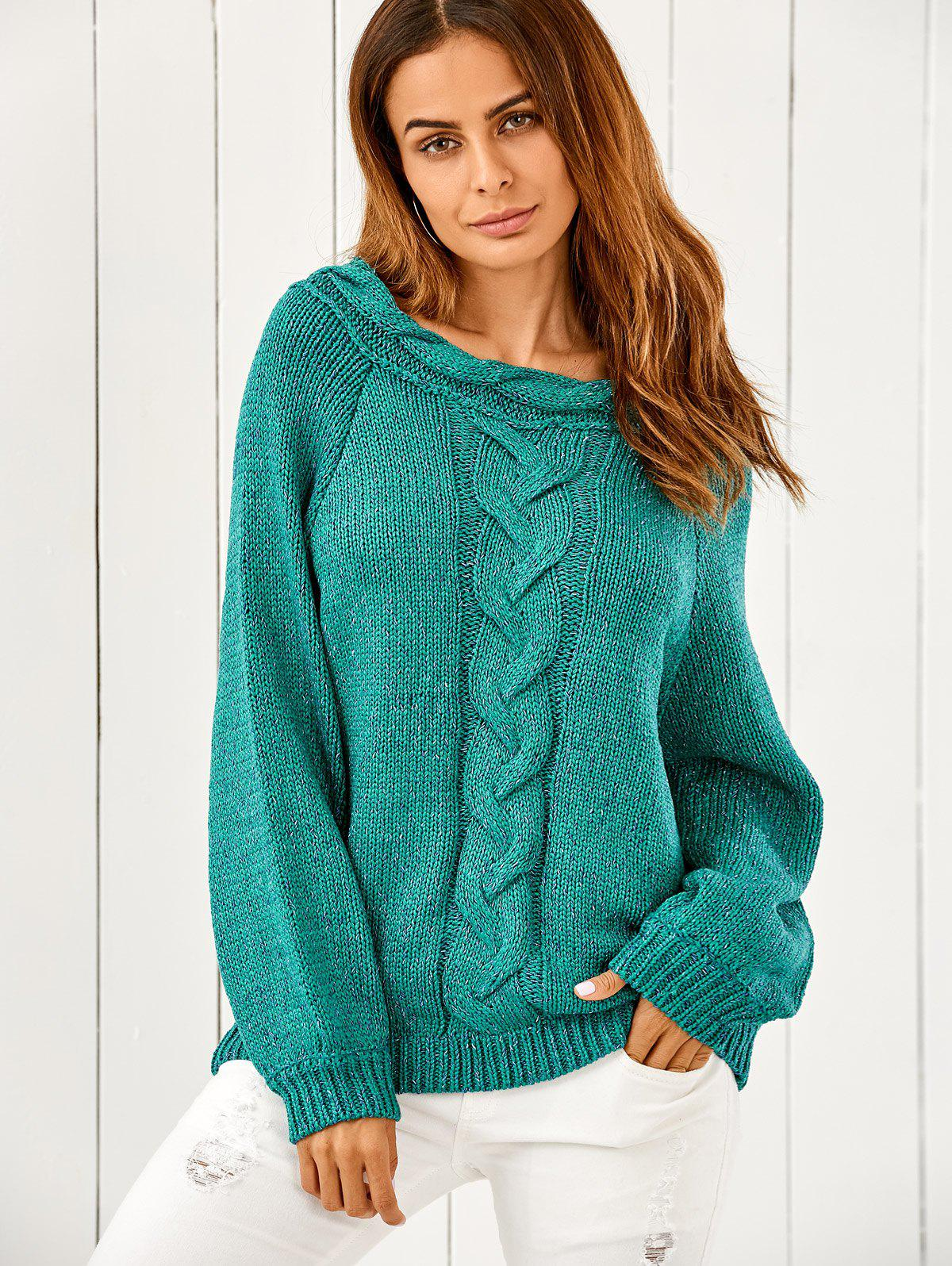 2018 Puffed Sleeve Cable Knit Oversized Sweater GREEN ONE SIZE In ...