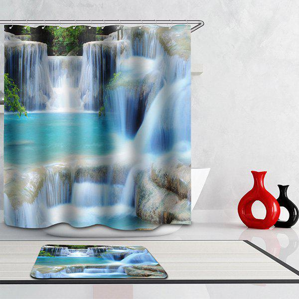 3D Waterfall Design Bath Waterproof Mouldproof Shower Curtain - COLORMIX