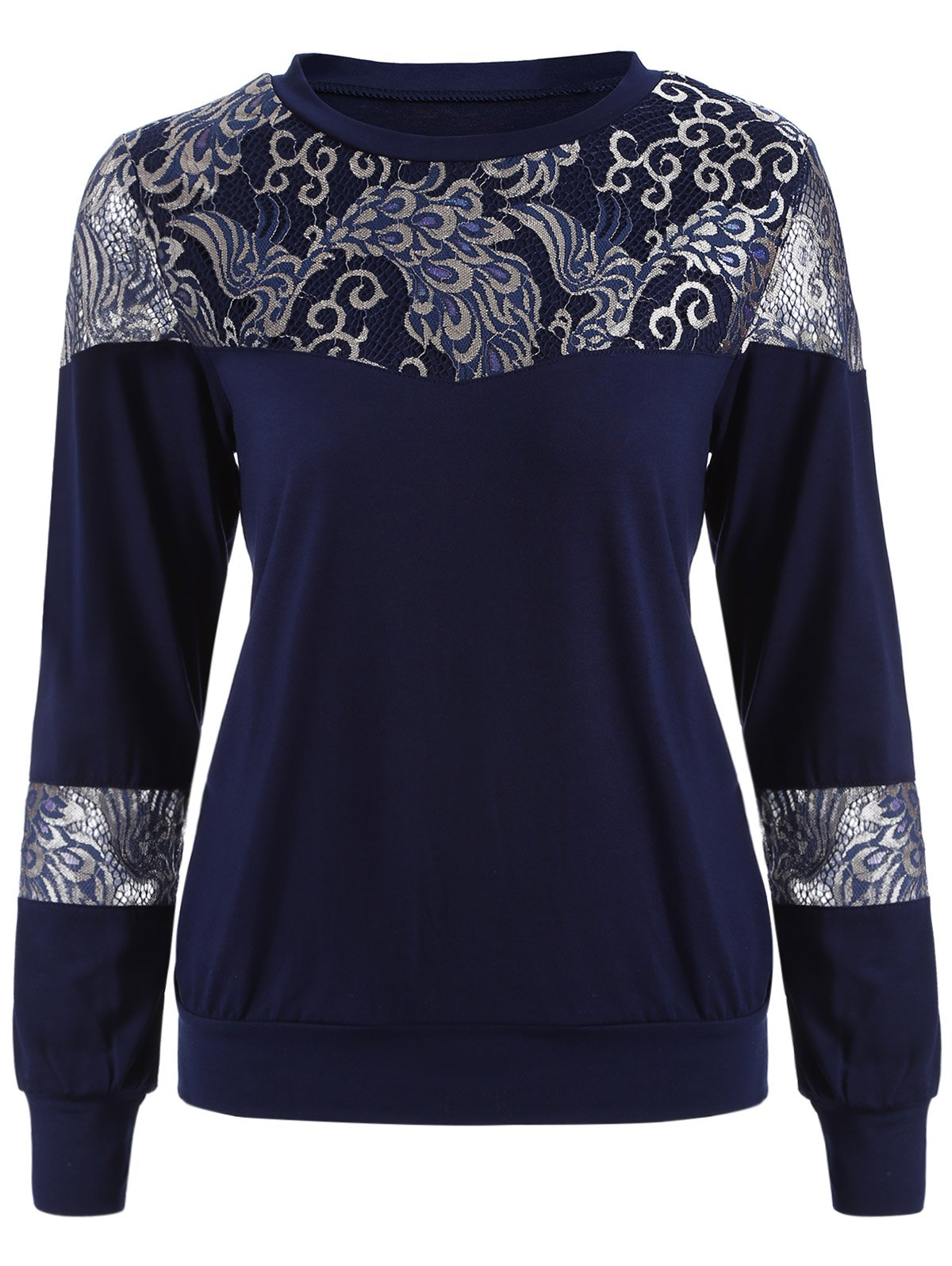 Loose Embroidered Lace Spliced TeeWomen<br><br><br>Size: 2XL<br>Color: PURPLISH BLUE