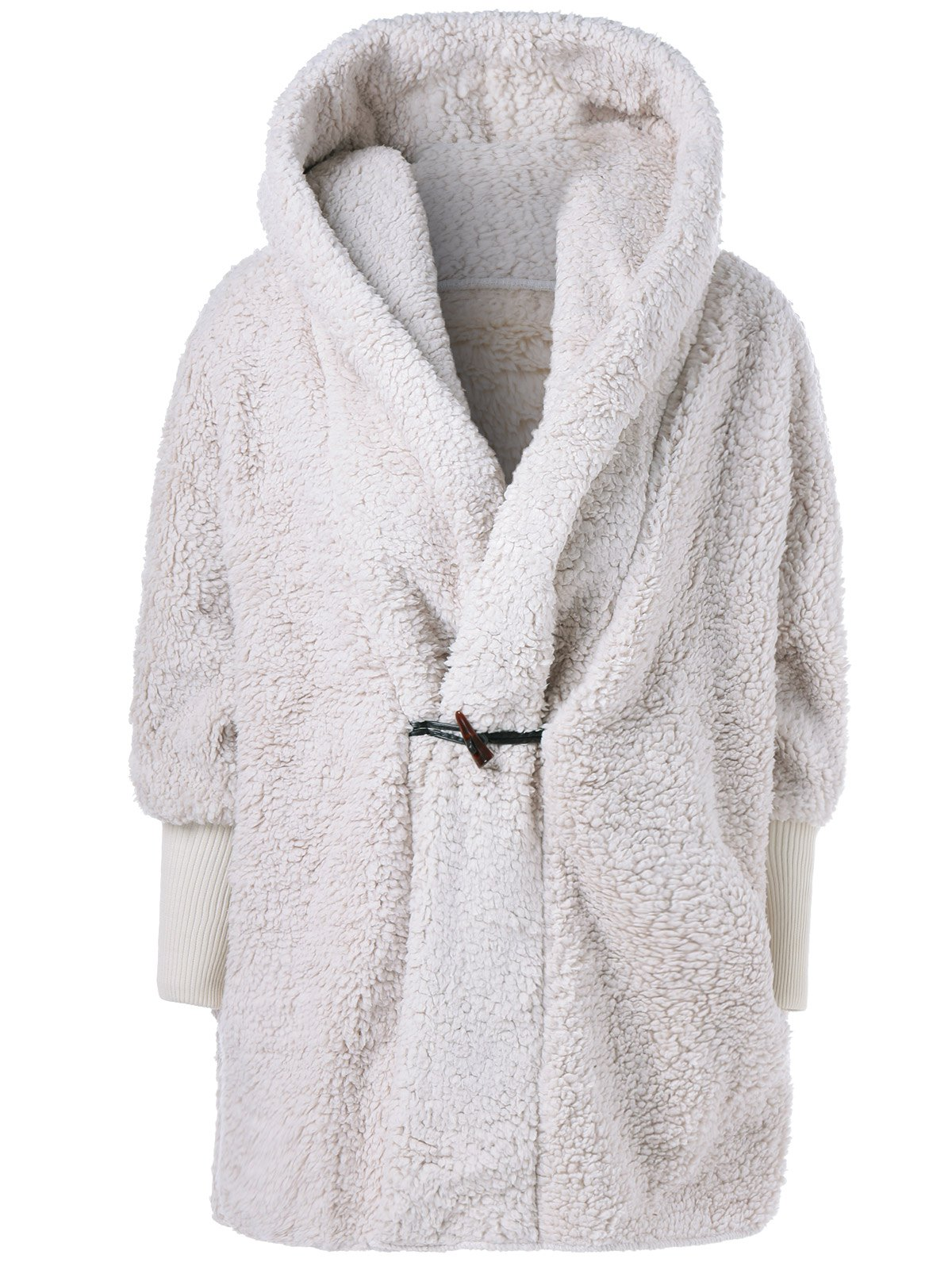 One Button Fuzzy Hooded Coat - WHITE ONE SIZE