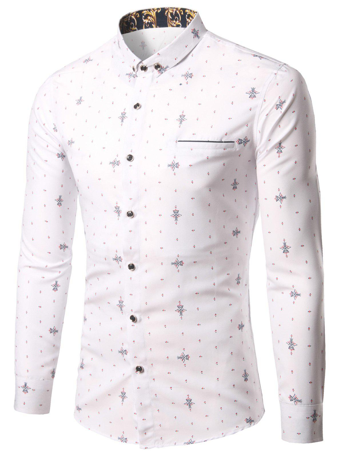 Geometric Print Turn-Down Collar Pocket Plus Size Shirt - WHITE 3XL