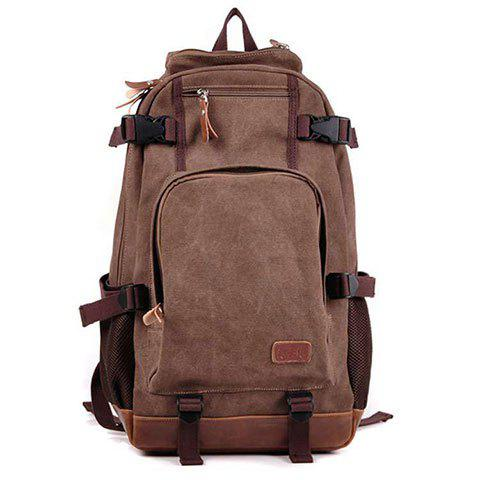 Canvas Splicing Zippers Backpack - DUN