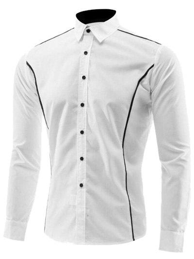 Edge Contrast Color Turn-Down Collar Long Sleeve Shirt - WHITE 3XL