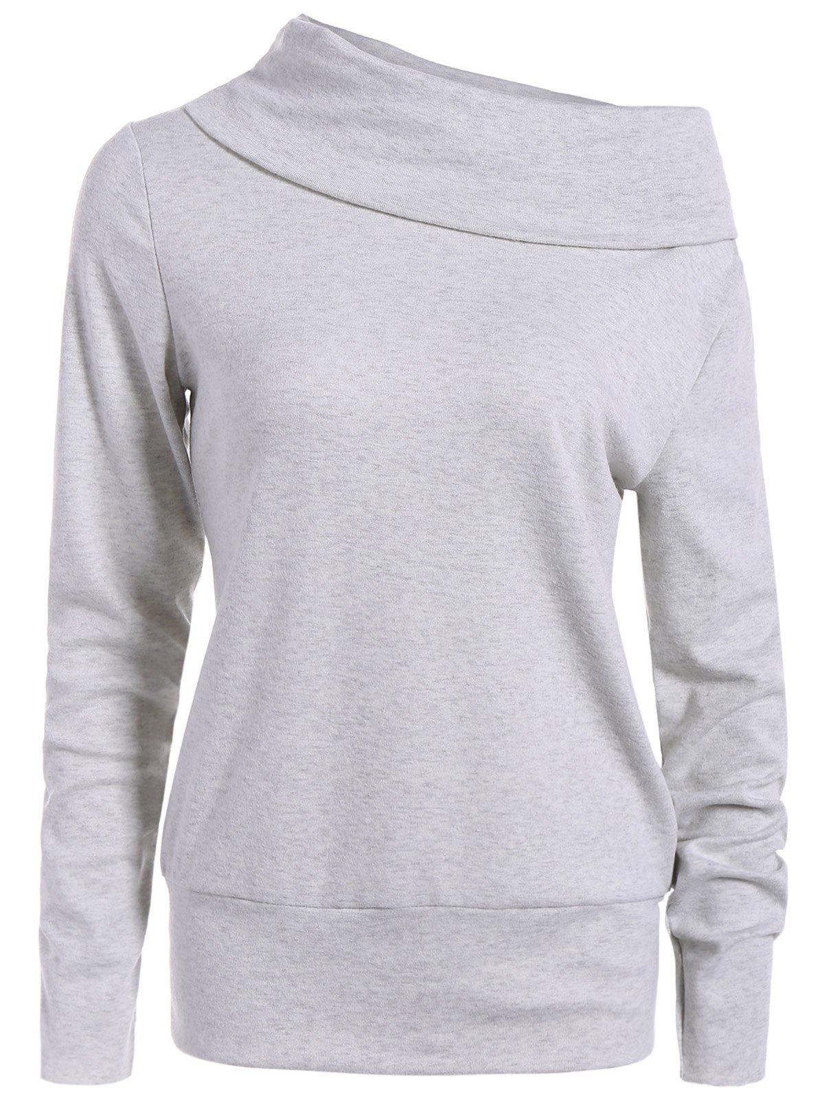High Neck Long Sleeve Sweatshirt - LIGHT GRAY 2XL