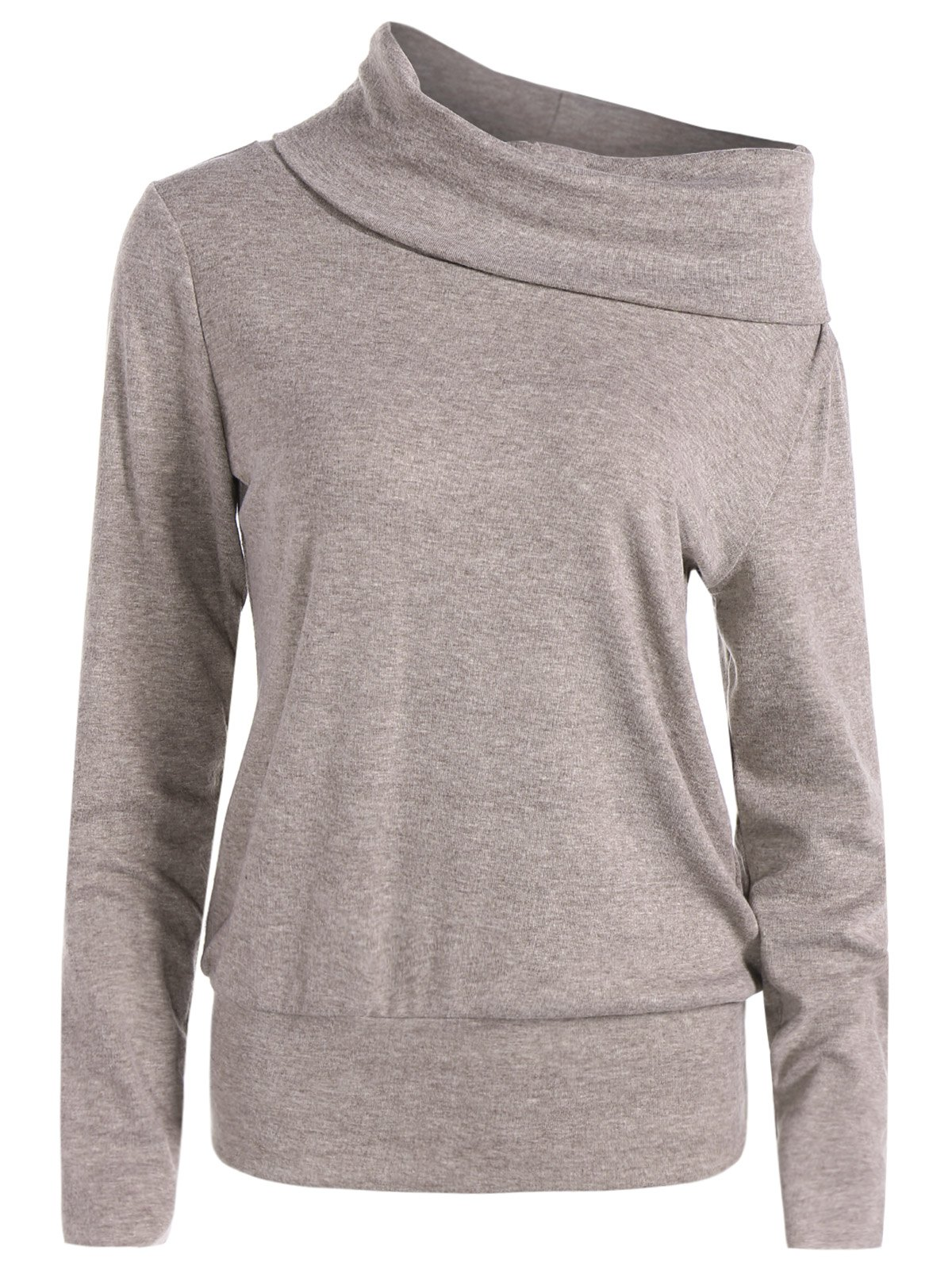 High Neck Long Sleeve Sweatshirt - SANDY BEIGE 2XL
