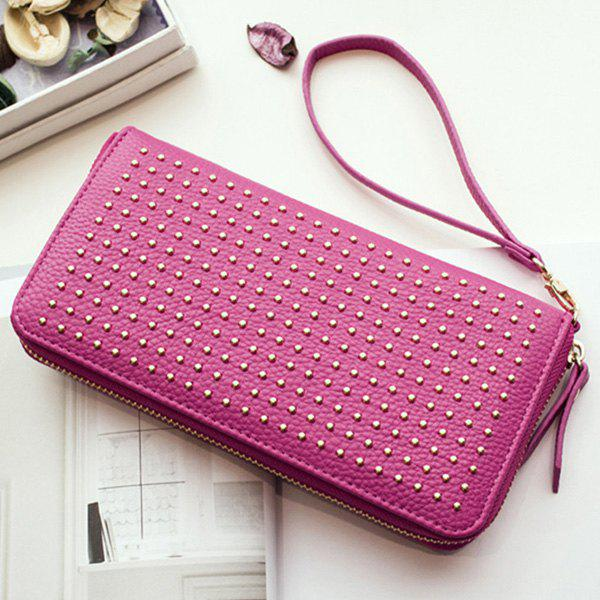 Zip Textured Leather Metal Wallet - ROSE MADDER