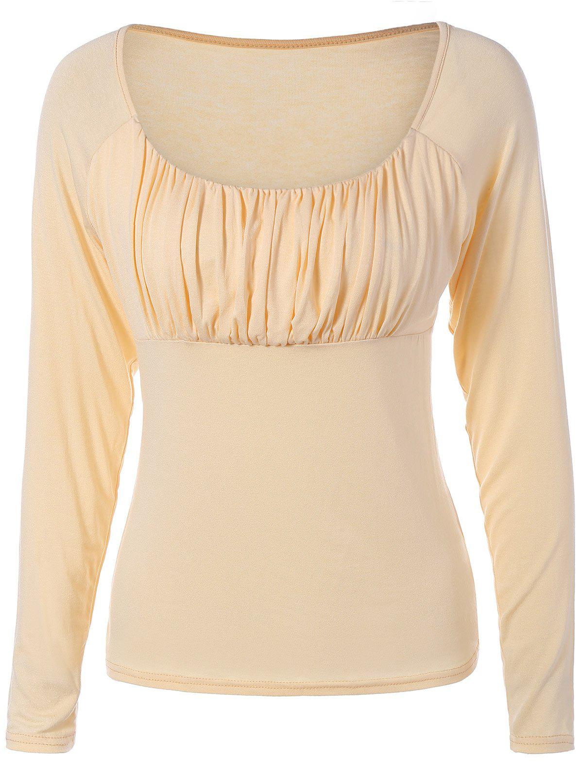 Chic Sweetheart Collar Solid Color Long Sleeve Pullover T-Shirt For Women - APRICOT M