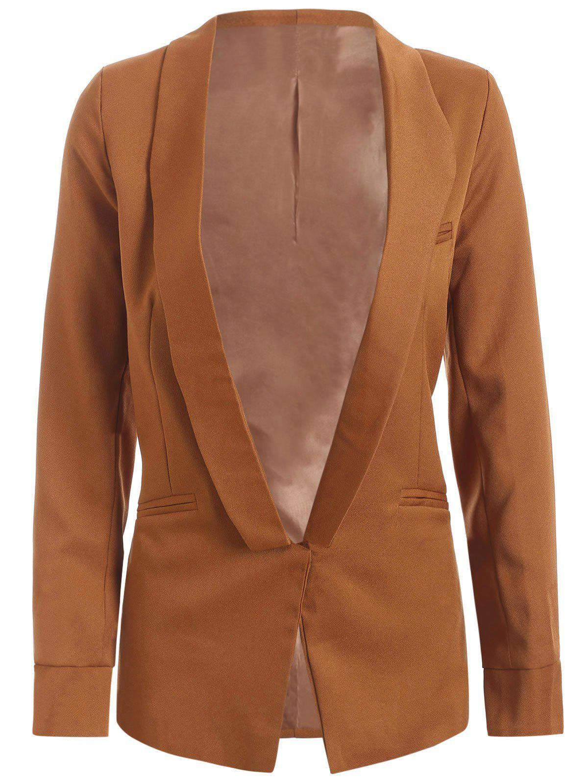 Shawl Collar Pocket Design Plain Blazer - CAMEL S