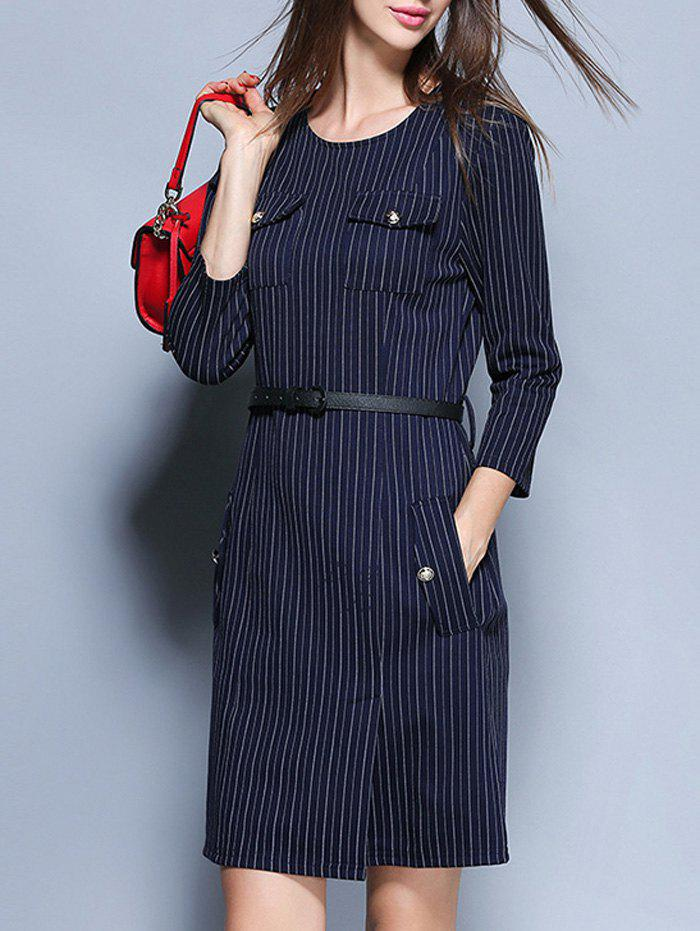 Striped Pockets Belted Pencil Dress 25pcs lot qm4003d m4003d to 252 free shipping new ic
