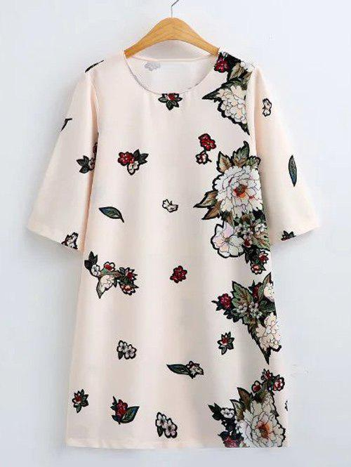 Flower Print Loose-Fitting Shift Dress - OFF WHITE S
