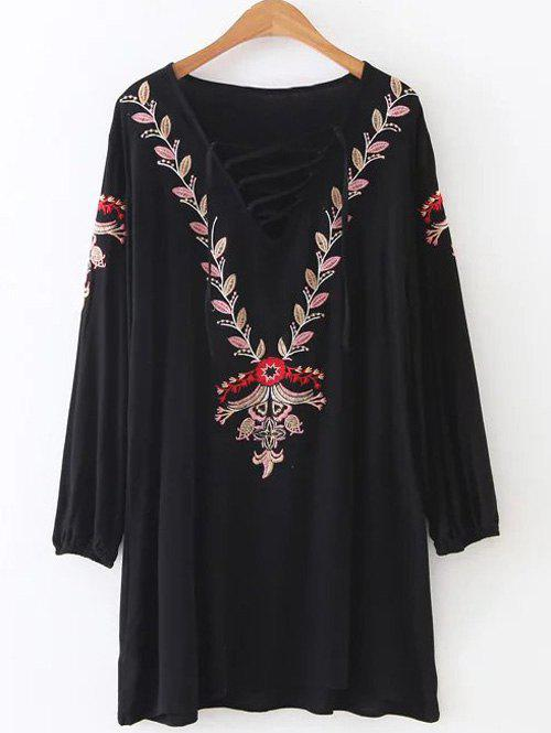 Floral Embroidered Lace-Up Shift Dress - BLACK ONE SIZE