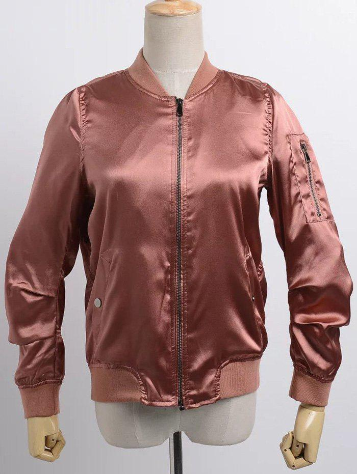 Stand Neck Satin Bomber JacketWomen<br><br><br>Size: S<br>Color: BRICK-RED