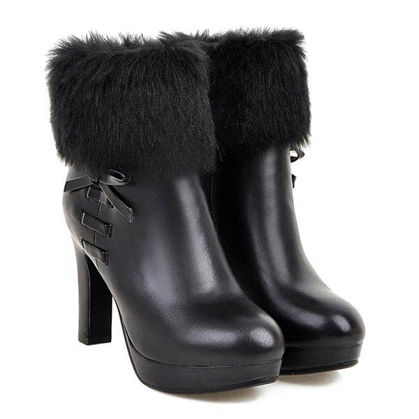 Platform Bow Faux Fur Ankle Boots - BLACK 37