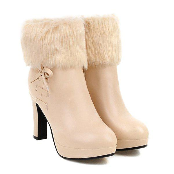 Platform Bow Faux Fur Ankle Boots - LIGHT APRICOT 39