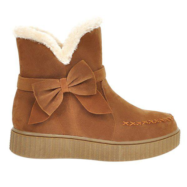 Buy Stitching Suede Bowknot Snow Boots BROWN