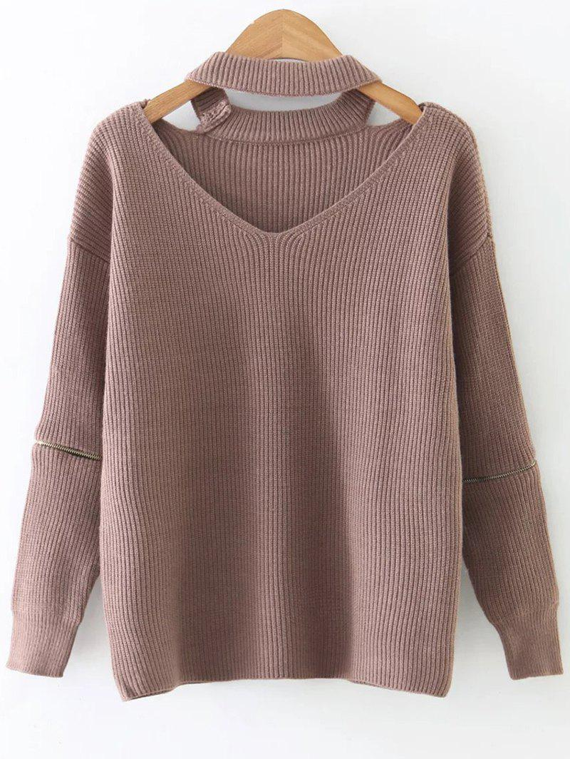 Zipper Sleeve Cut Out Choker Knitwear - KHAKI ONE SIZE