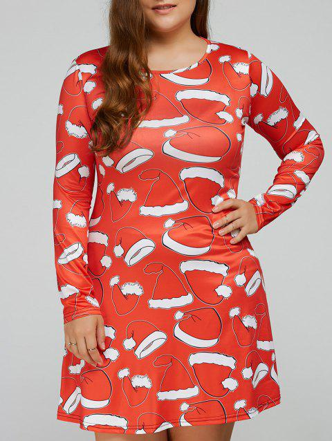 Santa Hat Print Long Sleeves Swing Dress - JACINTH M