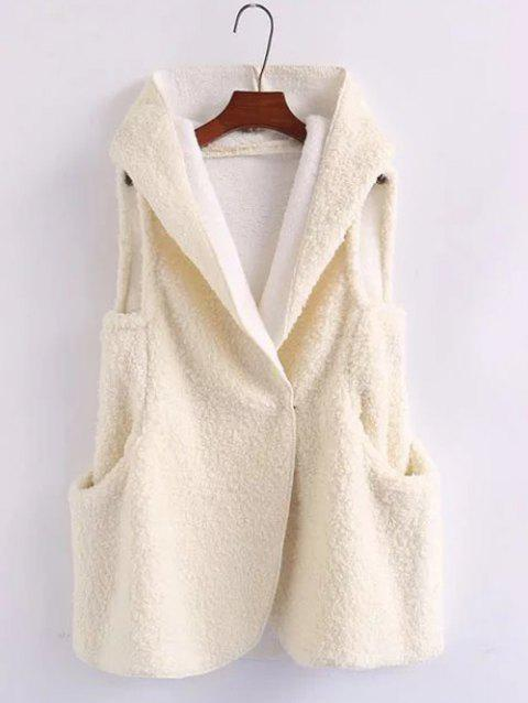 Pompon Shearling Vest Hooded - Blanc ONE SIZE
