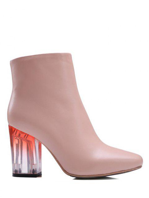 Zipper Square Toe Clear Heel Ankle Boots - PINK 39