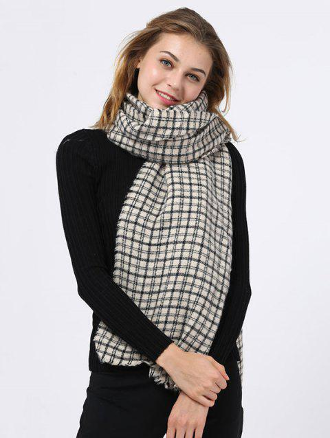 Outdoor Small Plaid Pattern Fringed Edge Scarf - WHITE