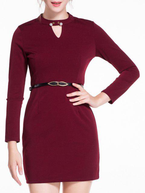 Cut Out Belted Bodycon Dress - WINE RED XL