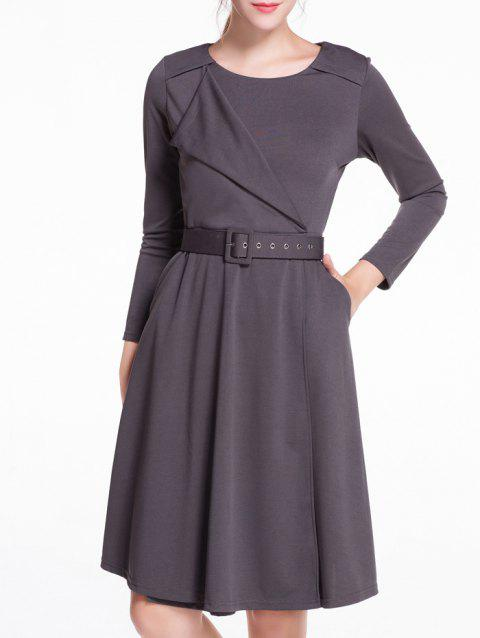 Asymmetric Splicing A-Line Dress - DEEP GRAY 2XL