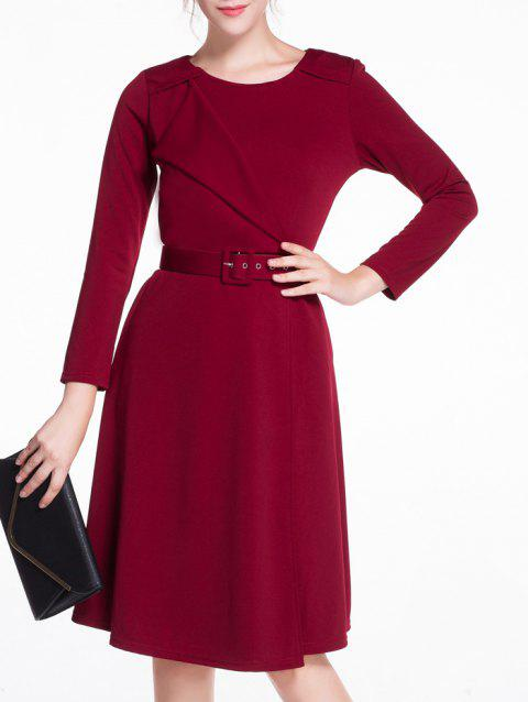 Asymmetric Splicing A-Line Dress - WINE RED 2XL