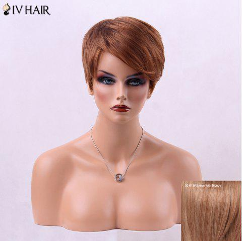 Fluffy Inclined Bang Straight Short Human Hair Wig - BROWN/BLONDE