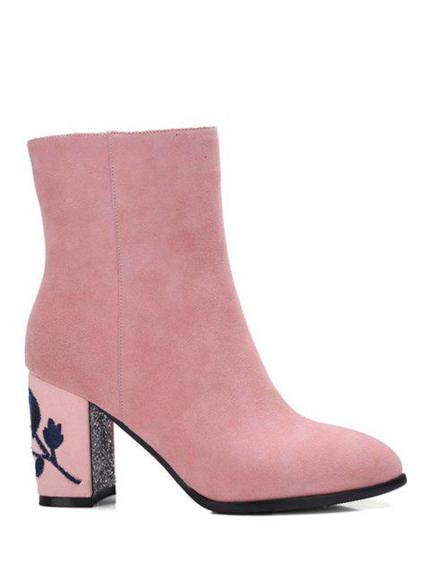 Embroidery Sequins Flower Pattern Ankle Boots - PINK 37