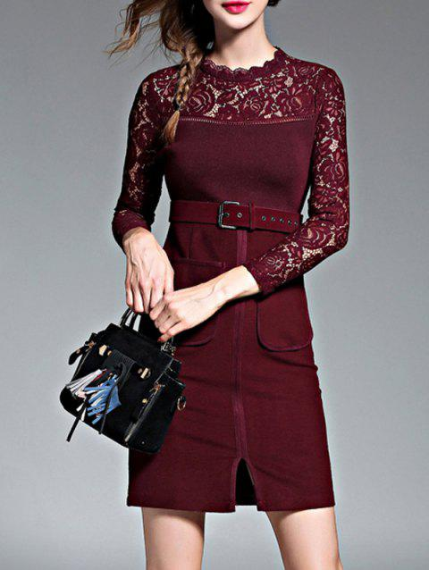 Empire Waist Lace Spliced Slit Pencil Dress with Long Sleeves - WINE RED L